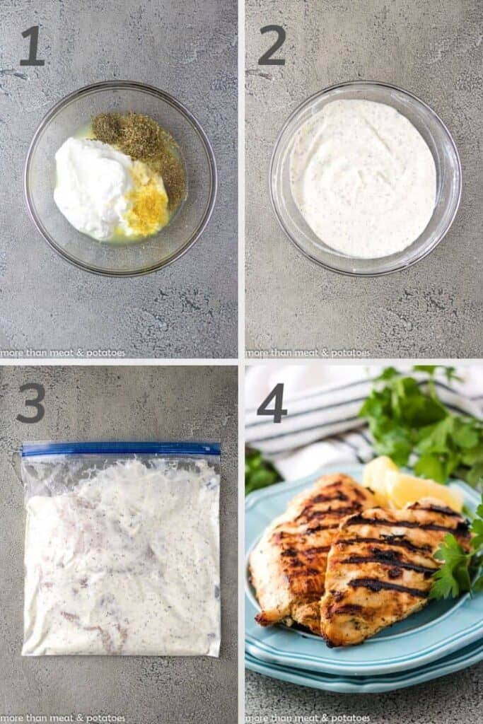 Collage of 4 photos showing how to make Greek yogurt marinade for chicken.