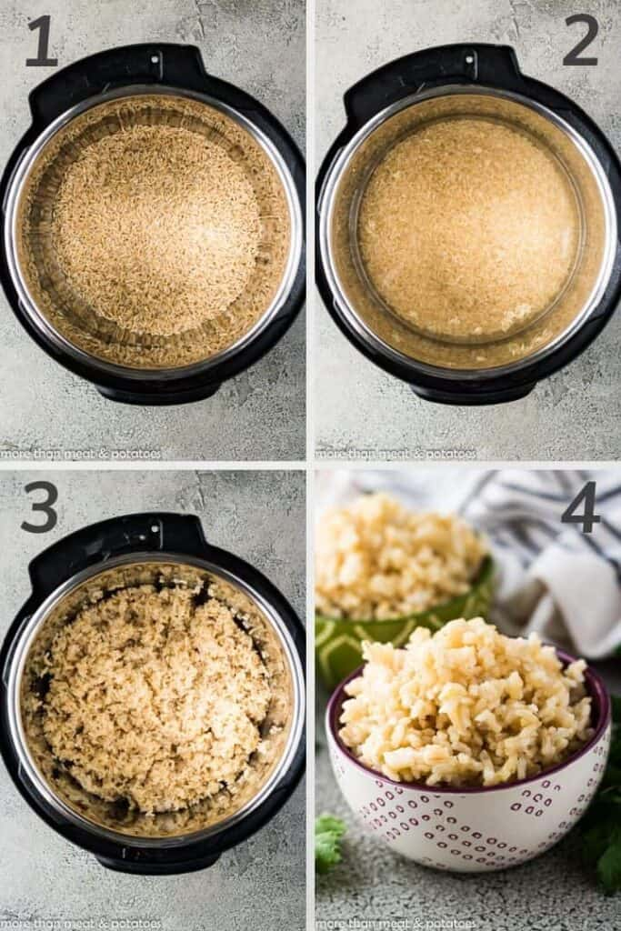 A collage showing the steps to making pressure cooker rice.