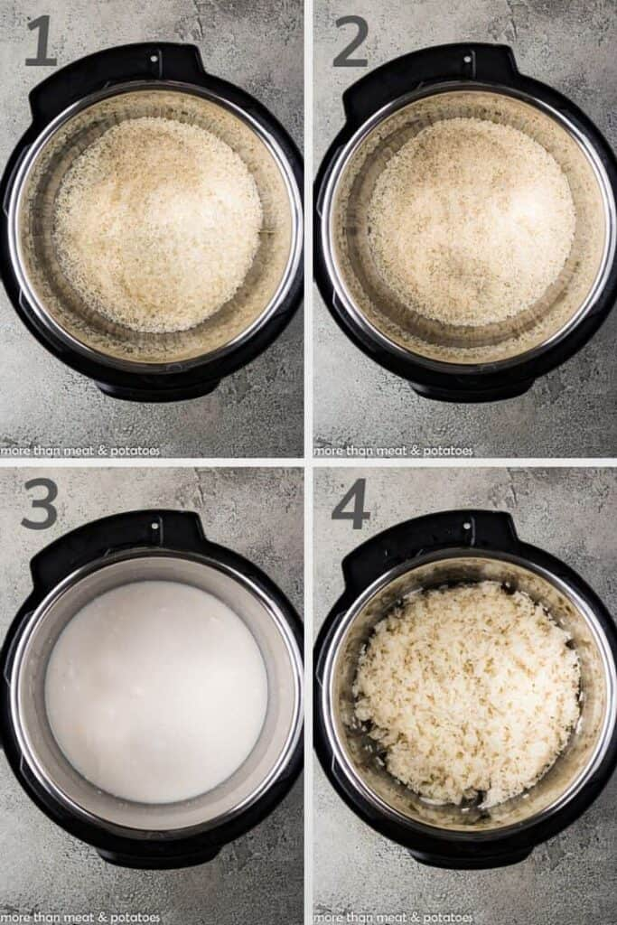 Collage of four arial view photos of the process of making coconut rice in a pressure cooker.