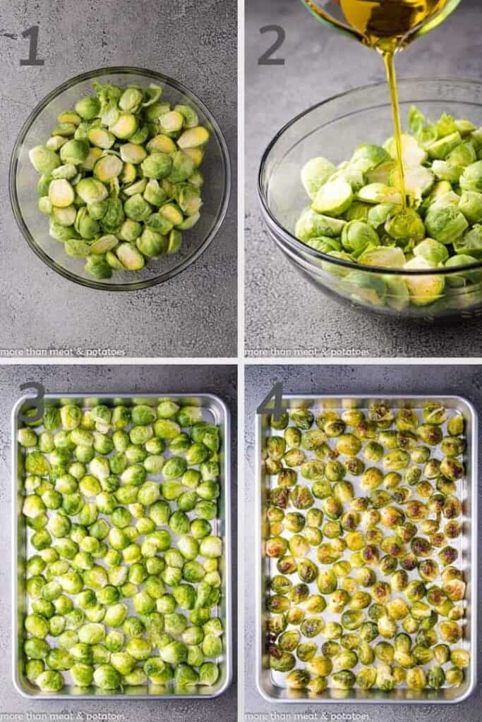 A collage of photos showing the 4 steps for roasted brussel sprouts.