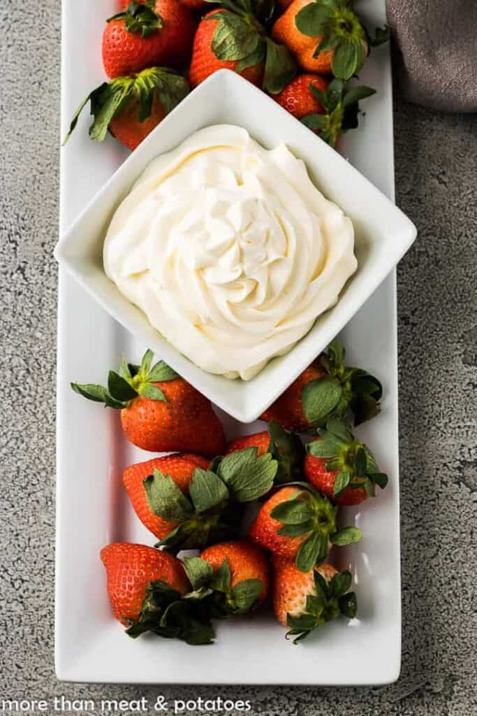 An aerial photo of the whipped mascarpone with strawberries.