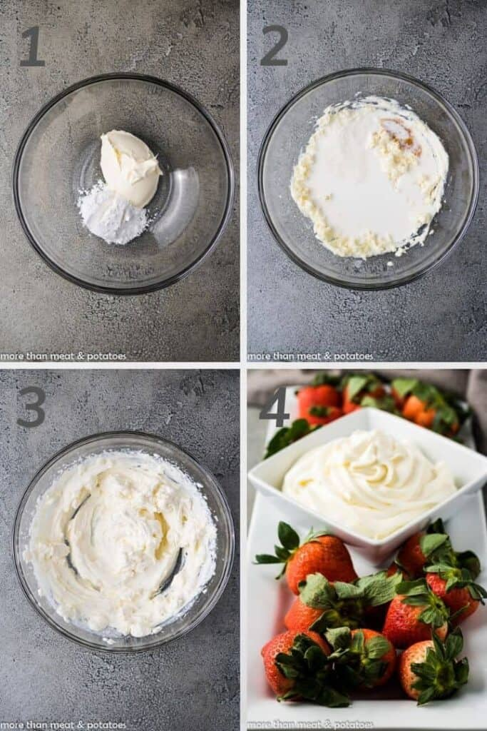 A collage of photos showing the steps for whipped cream.