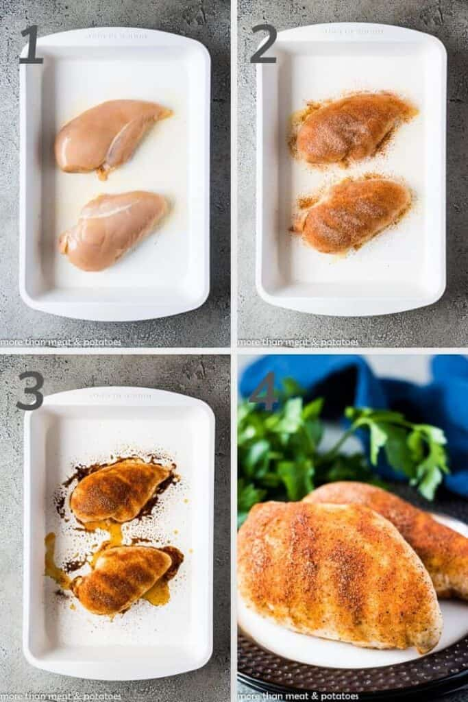 A photo collage showing the 4 steps for baked chicken.