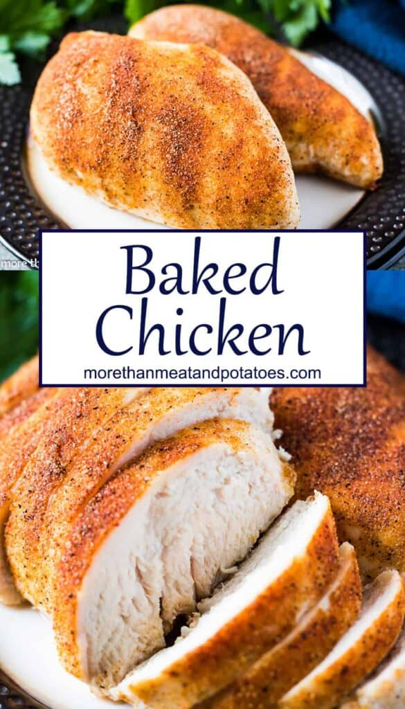 Two stacked photos of the baked chicken breasts.