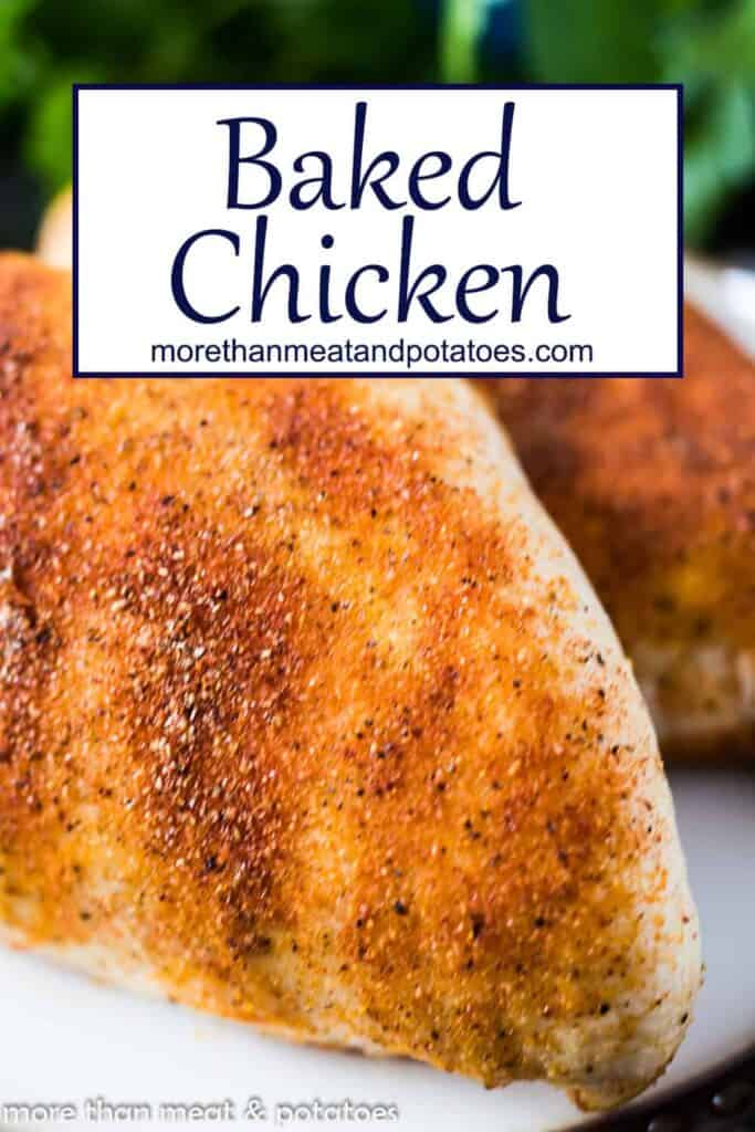 A close-up of the baked chicken breasts.