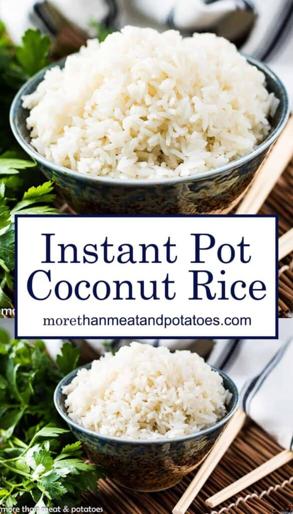 Two photos of coconut rice in bowls used for Pinterest.