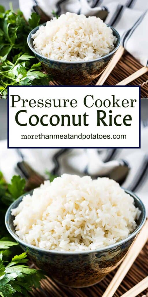 Pressure cooker coconut rice photo used for Pinterest.