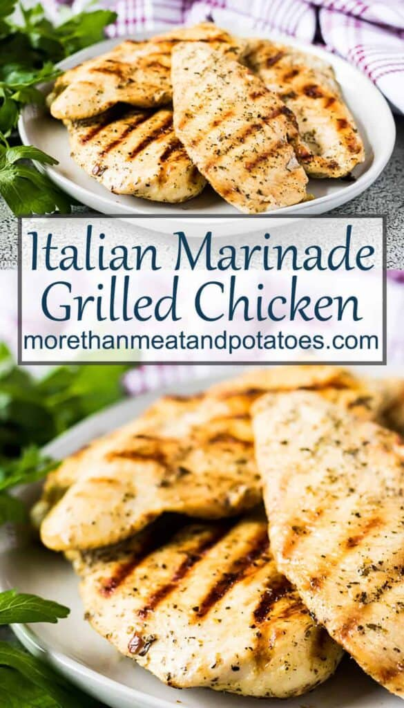 Two photos showing the fully cooked Italian marinated grilled chicken.