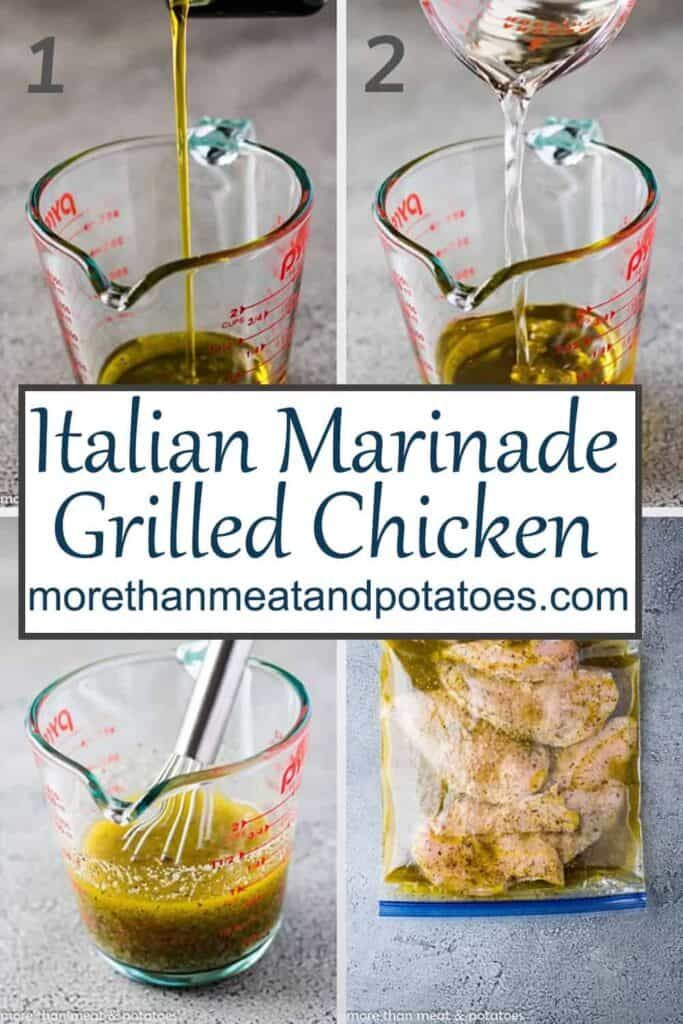 Four step-by-step photos showing the Italian marinade.