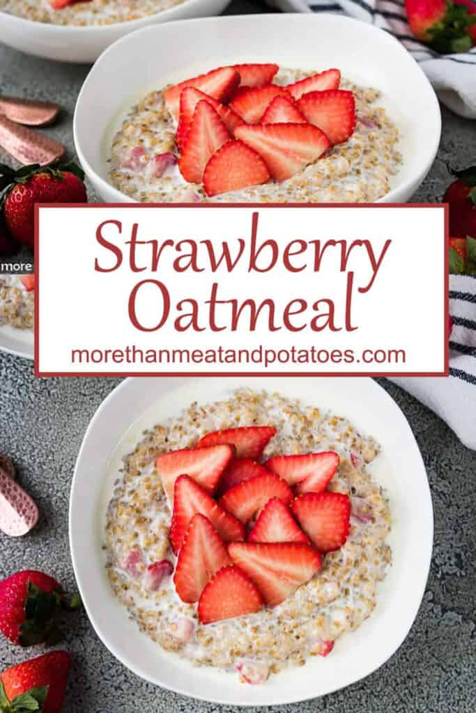 Two shots of the strawberry oatmeal served in white bowls.