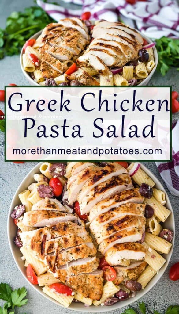 Collage of greek chicken pasta salad photos with text in the center.