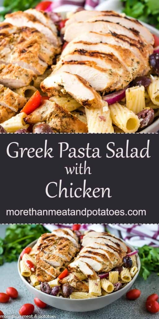 Pasta salad with chicken and scattered tomatoes.