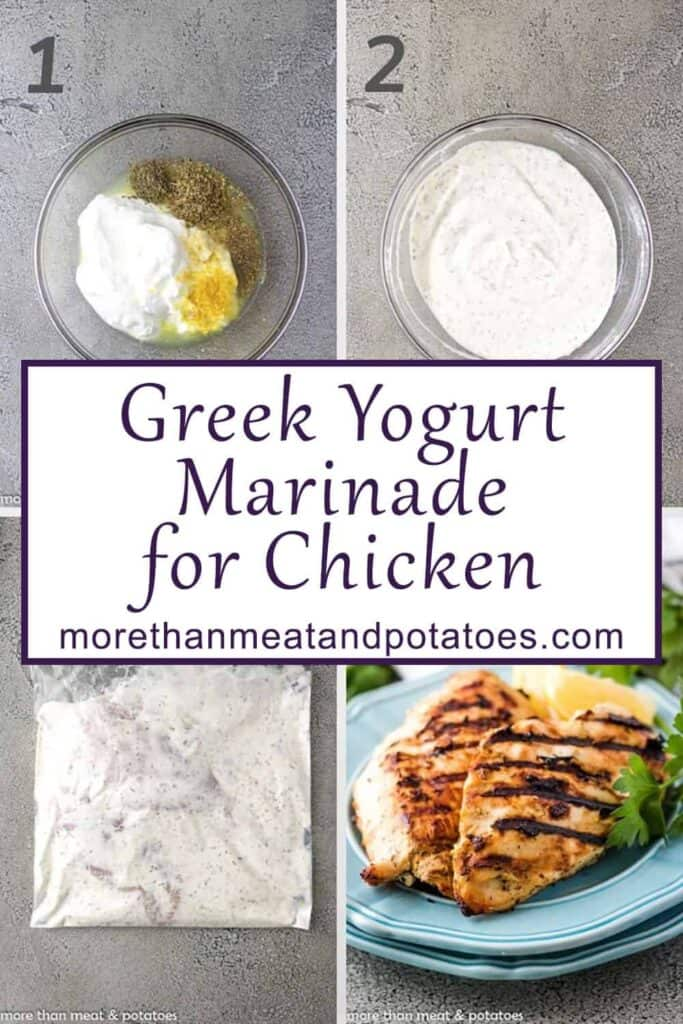 Collage of photos showing the process of making Greek yogurt marinaded chicken.