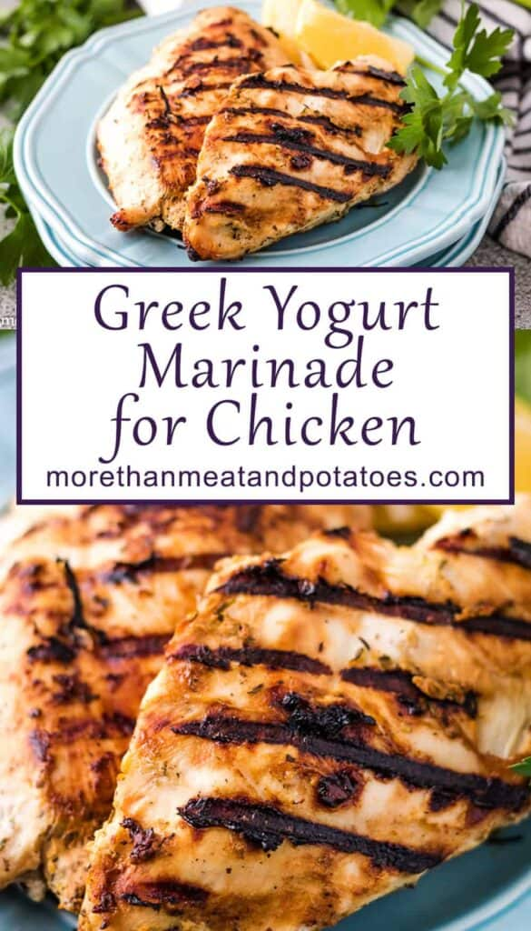 Two photos of Greek yogurt marinaded grilled chicken on blue plates.
