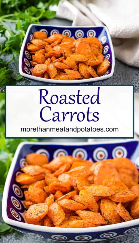 Two stacked photos of the oven roasted carrots in a bowl.
