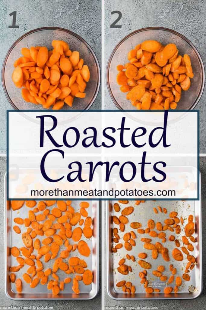 A collage of photos showing the steps for making roasted carrots.