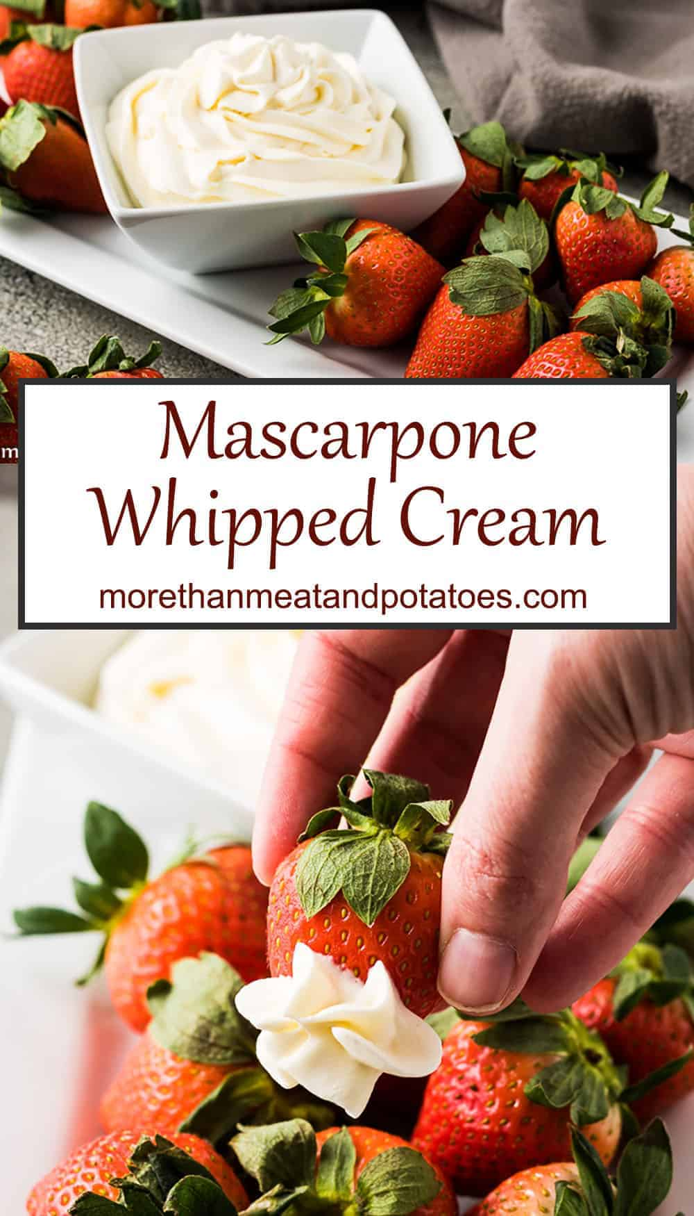 Two stacked pictures showing mascarpone whipped cream with strawberries.