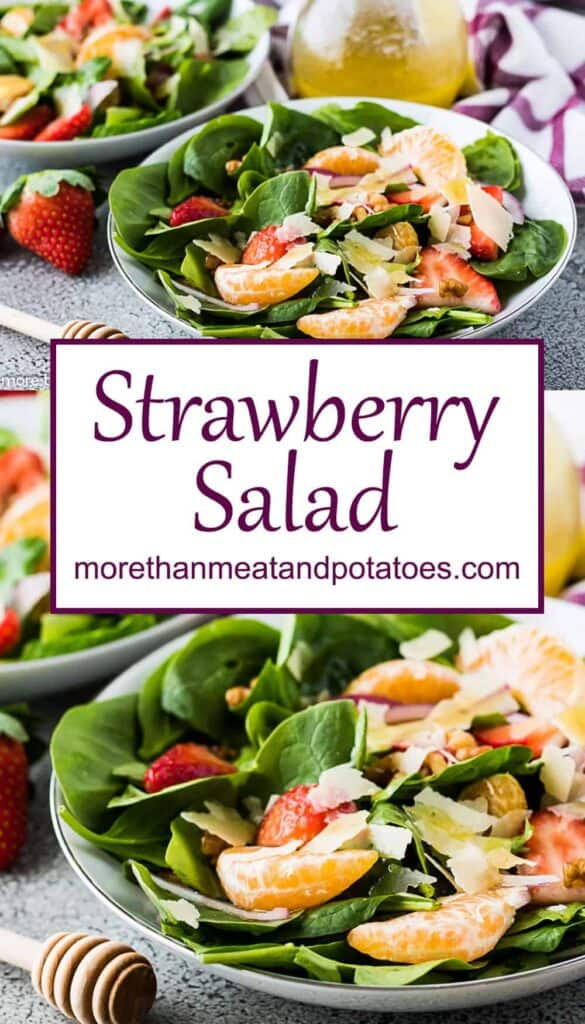 Two photos of the strawberry spinach salad in bowls.