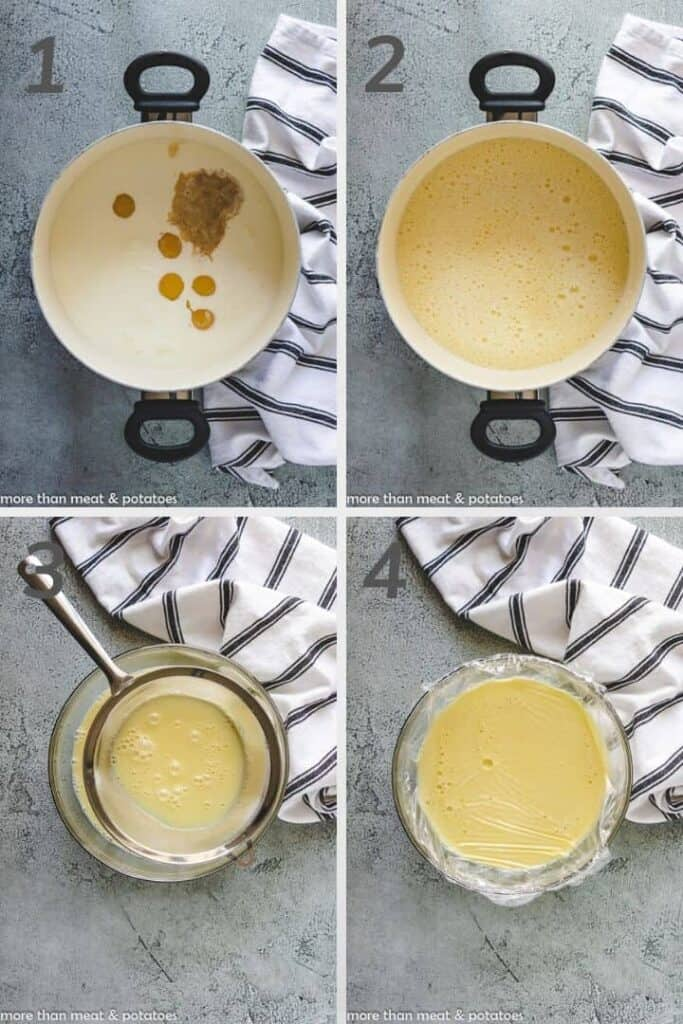 Four photos showing the steps to making a custard base for ice cream.