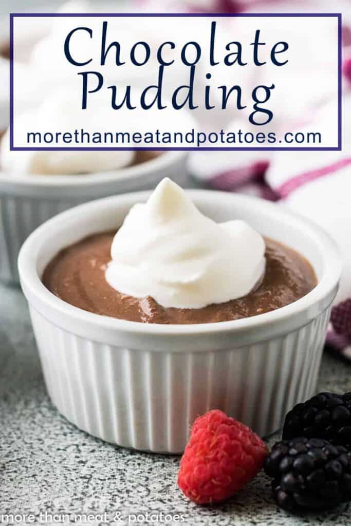 The chocolate pudding cups served Chantilly cream.