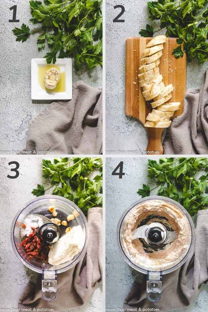 Four photos showing the steps to create the cream cheese crostini.