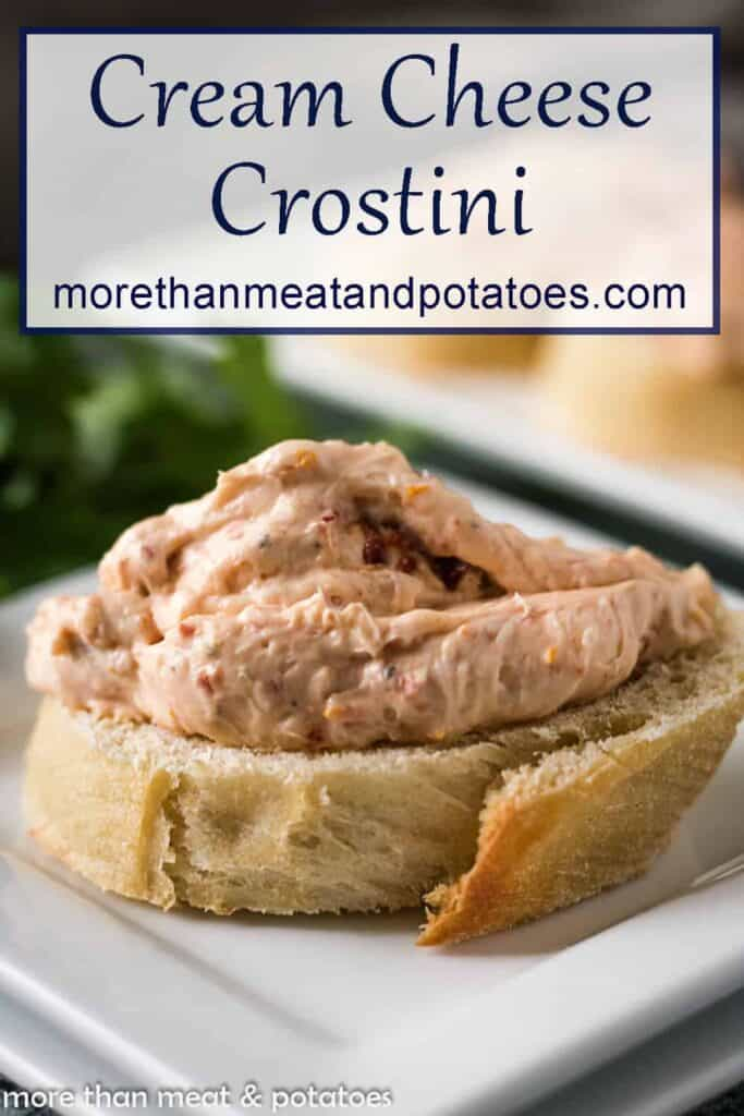 A small crostini topped with the roasted garlic sun dried tomato filling.