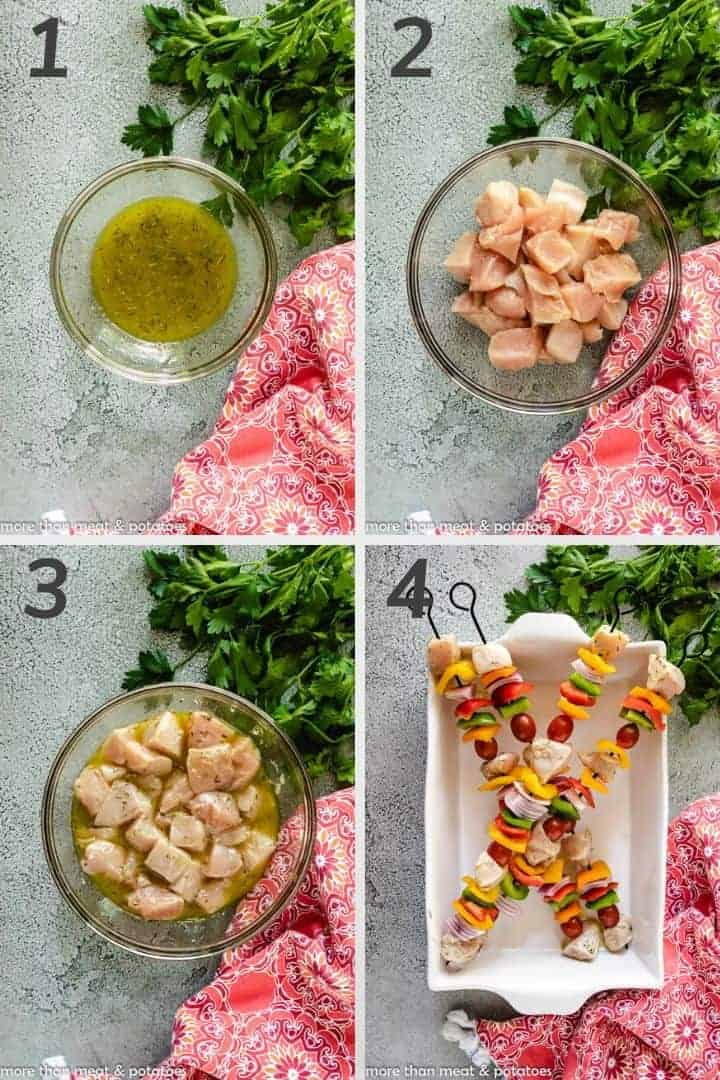 A photo collage showing the steps to preparing the kebabs.