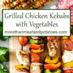 Two stacked photos showing the grilled chicken kebabs.