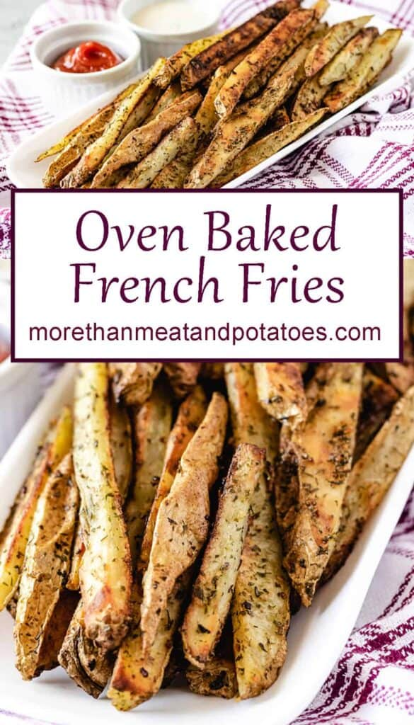 Two stacked photos of the finished oven baked French fries.
