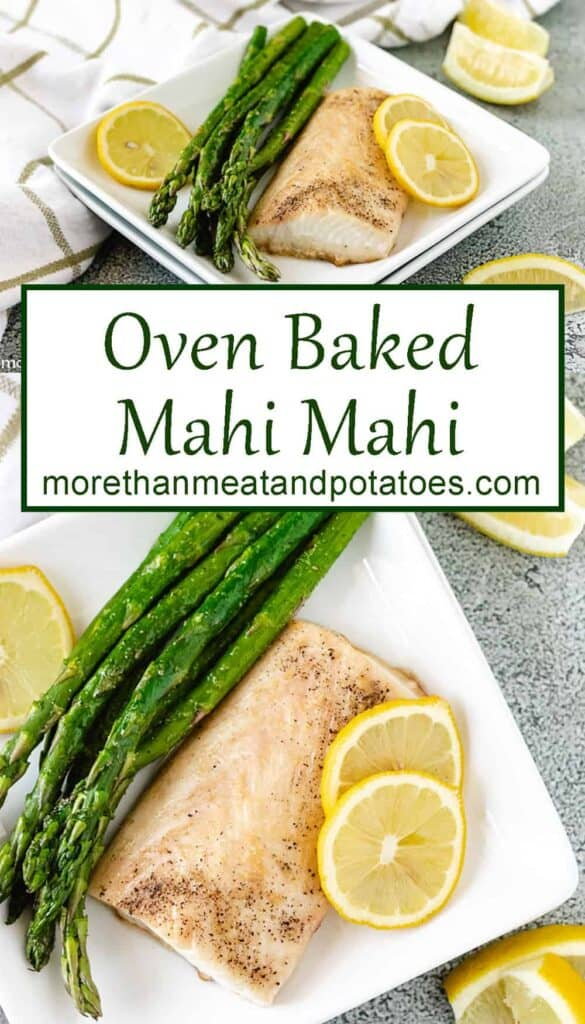 Two stacked photos of the baked mahi mahi on a square plate.