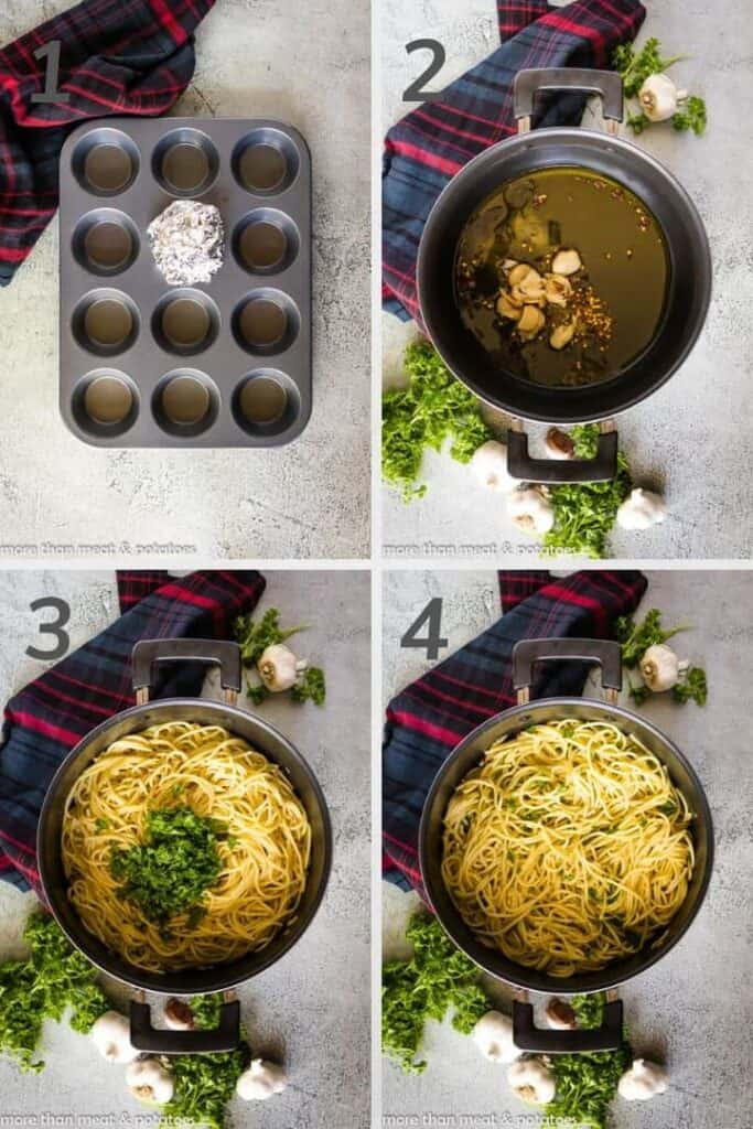 A 4 photo collage showing the steps to making garlic olive oil pasta.