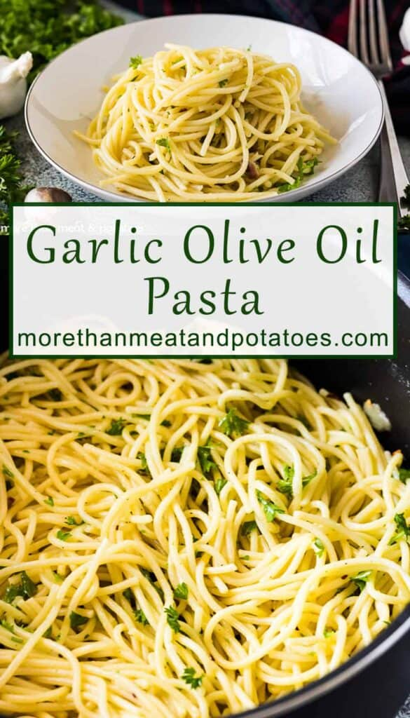 Two photos showing a bowl of olive oil pasta and the pasta in a pan.