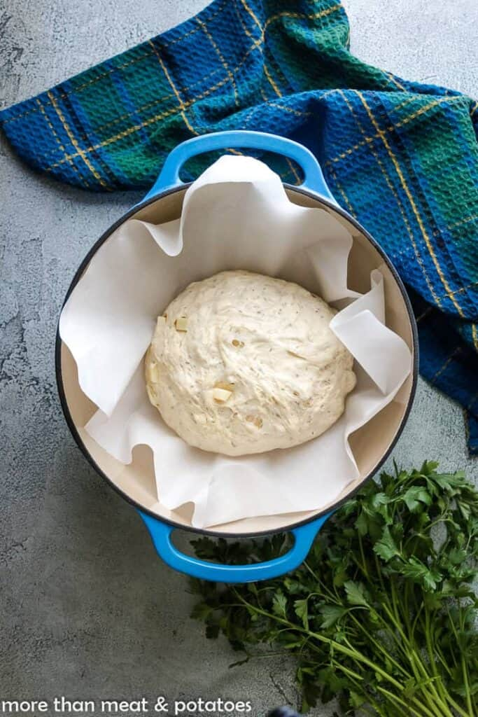 The dough, on parchment paper, in a Dutch oven.