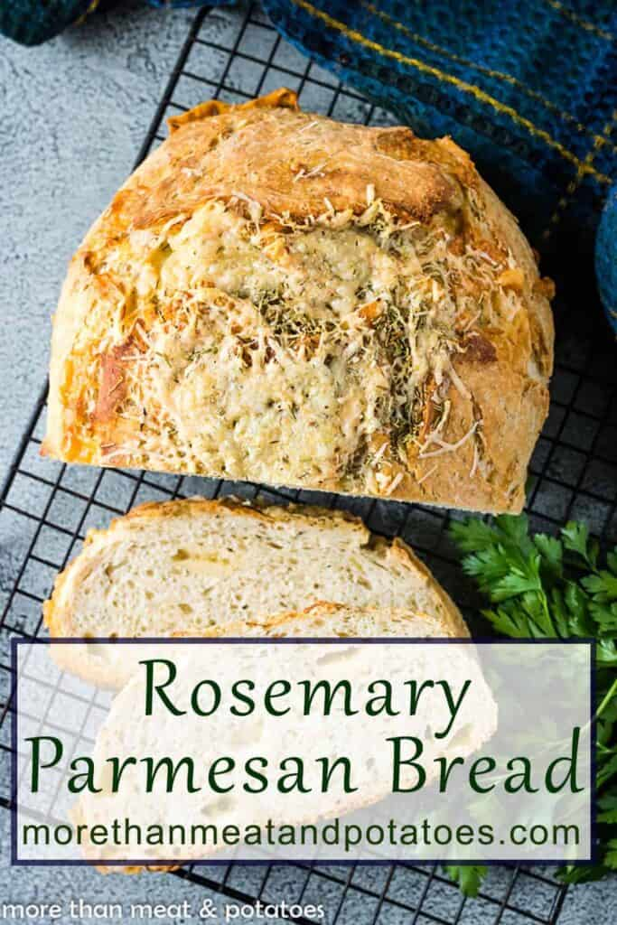 Top-down view of the sliced rosemary Parmesan bread.