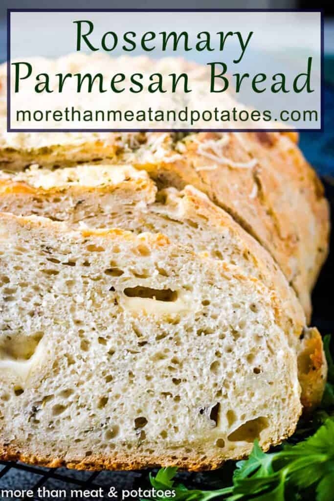 A close-up of the rosemary Parmesan bread showing the air pockets.
