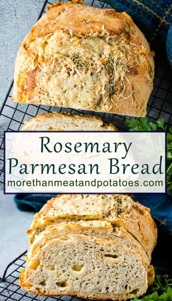 Two stacked photos of the rosemary Parmesan bread.