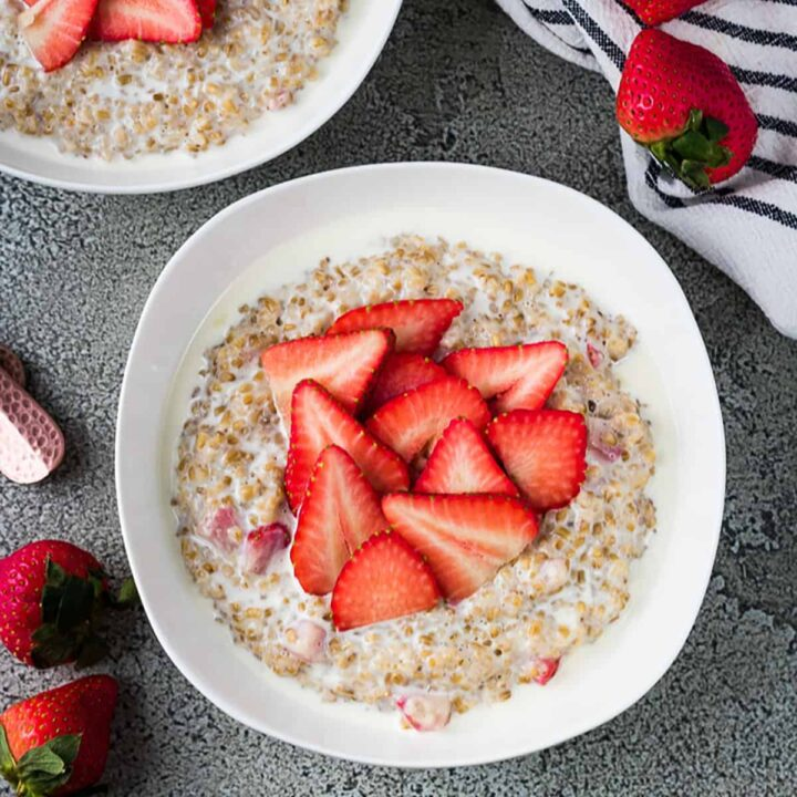 Strawberry Oatmeal with Steel Cut Oats Featured Image Sweet Potato and Sausage Hash