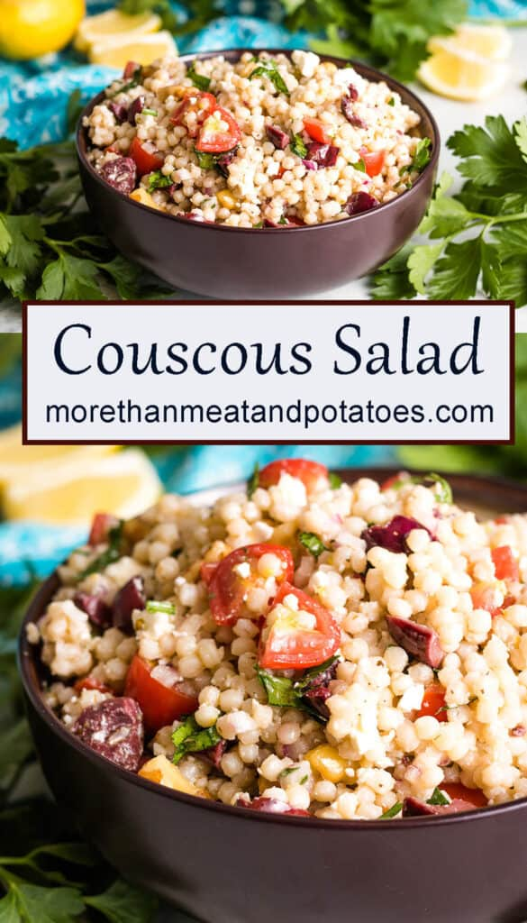 Two stacked photos of the lemon couscous salad in a bowl.