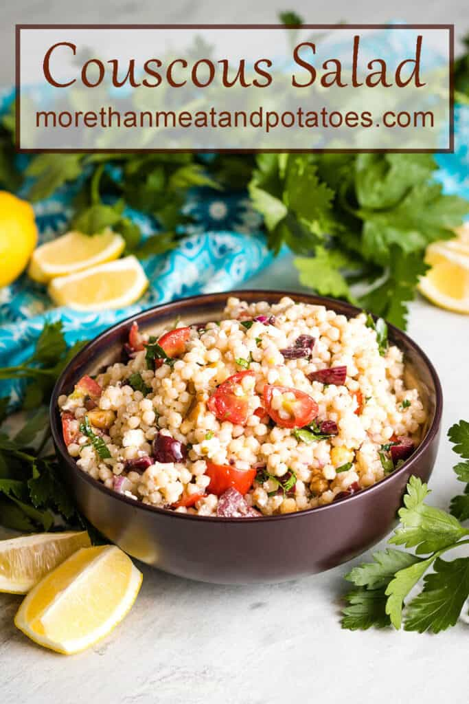 The finished couscous salad served in a large bowl.