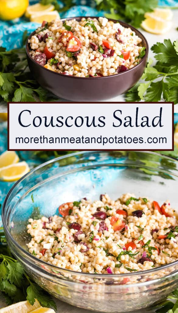 A labeled picture showing the couscous salad in two different bowls.