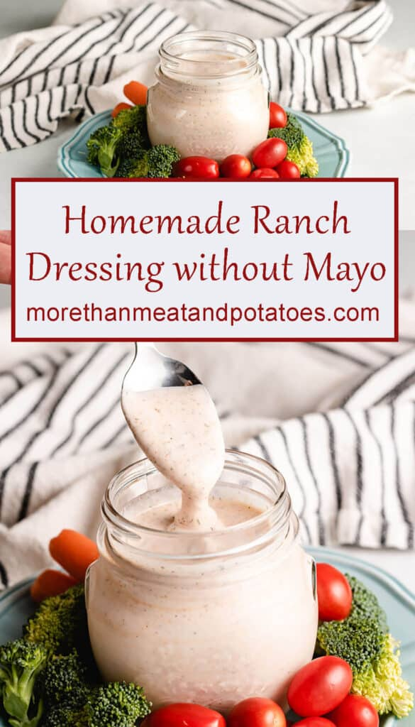 Two stacked photos of the ranch dressing in a mason jar.