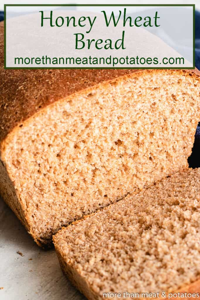 A close-up of the honey wheat bread showing the inner texture.