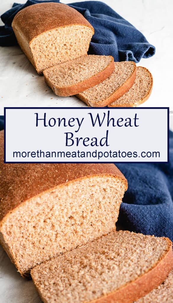 Two photos showing the homemade honey wheat bread.