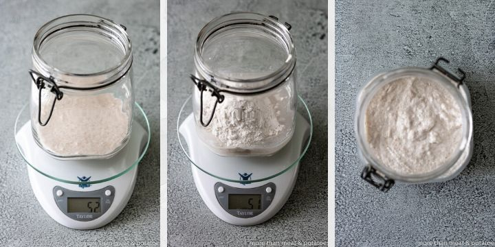 Collage of photos showing how to measure ingredients for sourdough starter.