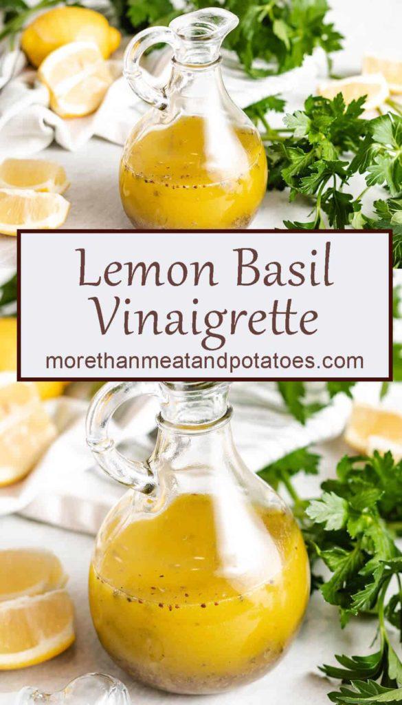 Two photos of the lemon basil vinaigrette in a dressing cruet.
