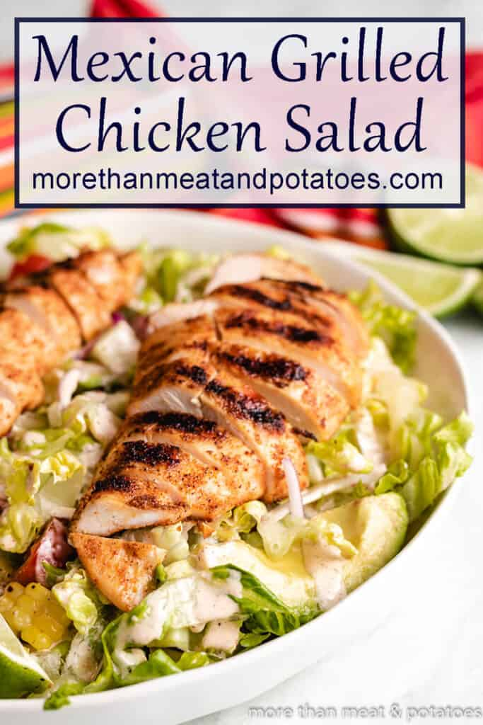 The grilled chicken salad served in a bowl.
