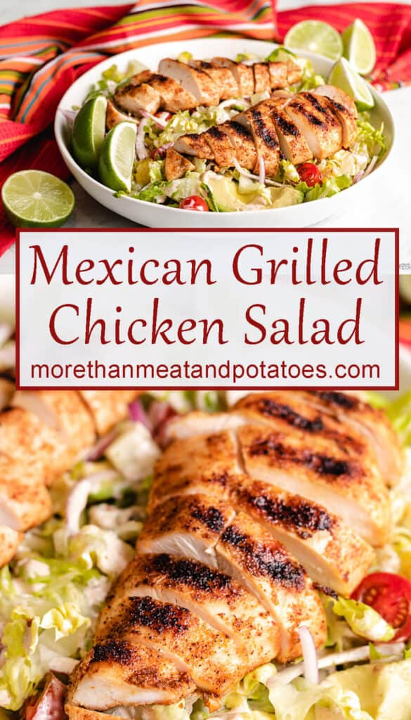 Two stacked photos of the finished Mexican grilled chicken salad.
