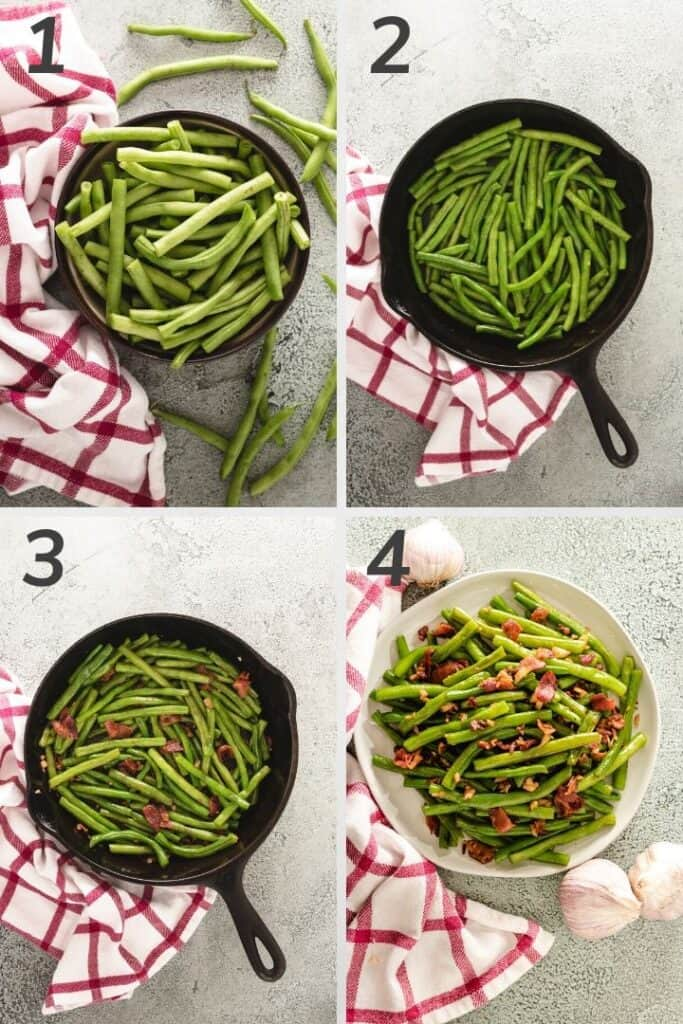 Four photos showing you the steps to sauteing green beans.