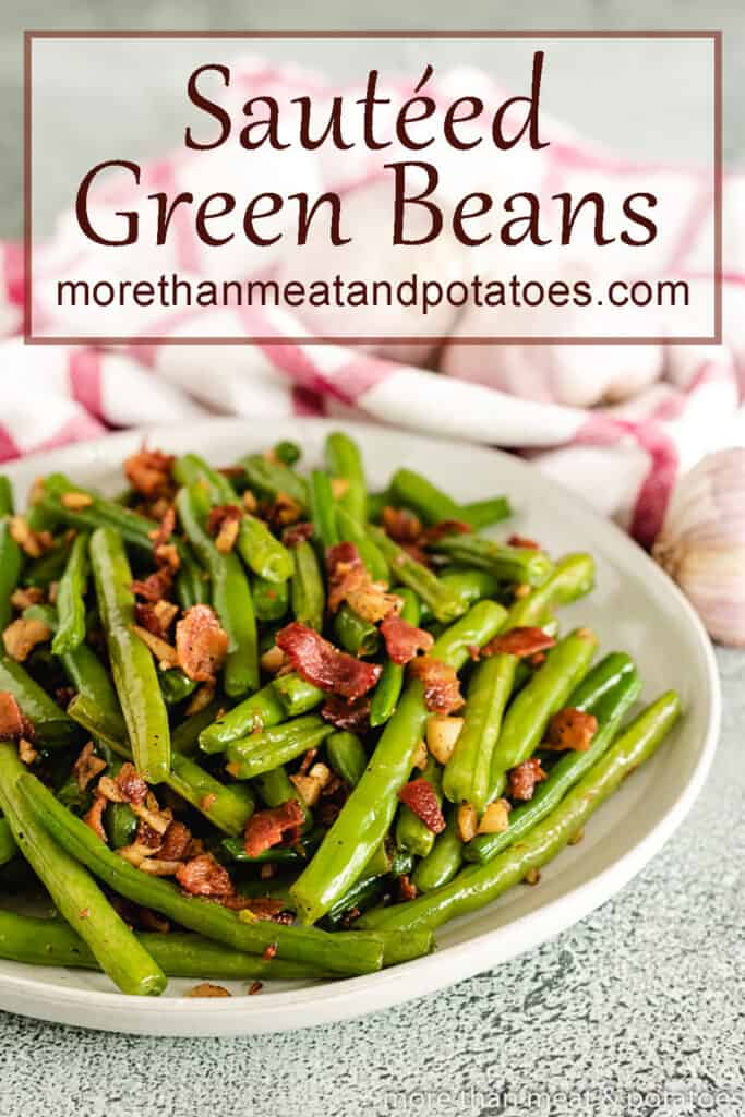 A white bowl loaded with green beans.