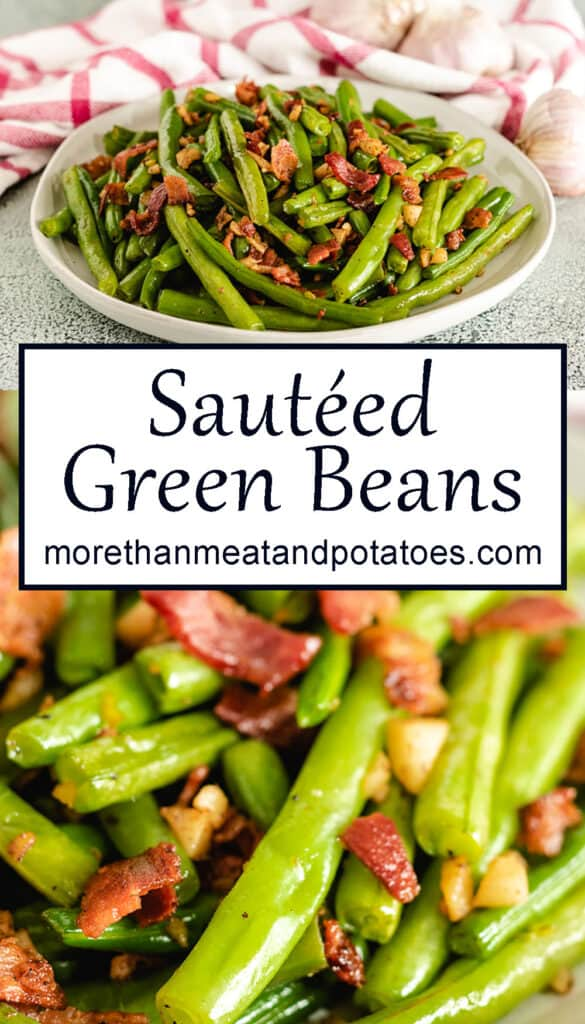 Two stacked photos showing the sauteed green beans topped with bacon.